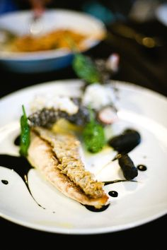 rispy scaled snapper, smoked potato puree, calamari crackling, ink sauce @ Gastro Park, Sydney