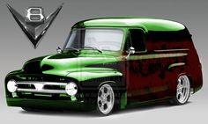 56 Ford Truck, Classic Ford Trucks, Old Ford Trucks, Diesel Trucks, Pickup Trucks, Hot Rod Trucks, Cool Trucks, Automobile, Lowered Trucks