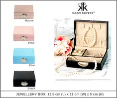 This stylish, compact and lightweight jewellery case is perfect for travel or home purposes.   Crafted from MDF (which is stronger than cardboard boxes), Kazzi Kovers Jewellery Box is lockable and is ideal for your rings, earrings, necklaces, watches, bracelets and more.   Available in Black, Pink, Blue and Mauve.