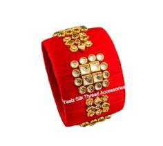 Yaalz Silk Thread Kundan Stone Jumbo Kada In Red Color Silk Thread Bangles Design, Silk Thread Earrings, Thread Jewellery, Pink Color, Orange Color, Bridal Bangles, Bangle Set, Website, Stone