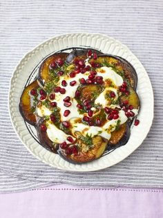 Aubergine & pomegranate salad by Jamie Oliver Cooked Vegetable Recipes, Vegetable Korma Recipe, Spiral Vegetable Recipes, Vegetable Samosa, Vegetable Casserole, Vegetable Dishes, Vegetarian Recipes, Cooking Recipes, Vegetable Spiralizer