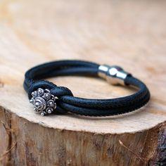 Zeeuwse knop armband zwart leer