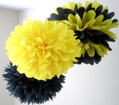 BUMBLE BEE / 3 tissue paper poms / bumble bee birthday / bee and puppycat / taxi cab party decorations / yellow and black First Birthday Parties, First Birthdays, 2nd Birthday, Bumble Bee Birthday, Mommy To Bee, Decoration Table, Centerpiece Ideas, Baby Shower Themes, Paper Poms