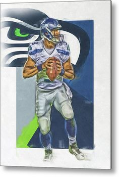 Russell Wilson Metal Print featuring the mixed media Russell Wilson Seattle Seahawks Oil Art 2 by Joe Hamilton