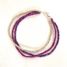 Multi Strand Seed Bead Bracelet // Purple Bead Bracelet // Purple and Silver…