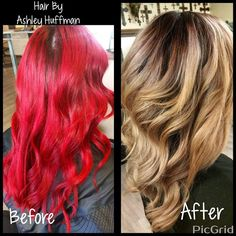 Fiery Red Hair Transformed Into A Beautiful Sombre' Cream Soda Blonde Color Correction Joico Hair Color Joico Lightner Beautiful Tone
