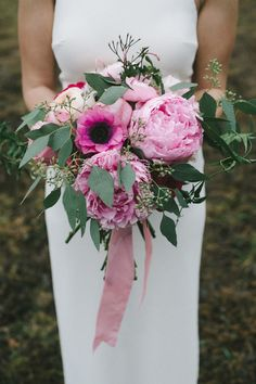 pink poppy and peony bouquet // photo by Nathan Russell // flowers by Byrd Collective