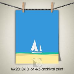 Sailboat art beach illustration North Carolina Carolina Beach sailboat print ocean wall art beach house decor coastal paintings by CoastalFocusArt |  5.00 USD  The Sailboat is one of a series of beach scenes all done in the same illustration style. You can put one or more of them together to create a full wall of fun cheerful beach house decor with a simple flat illustrative style. Please note: The print does NOT come with a watermark.  FREE US SHIPPING ON ALL PRINTS  All other locations…