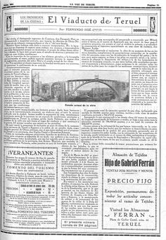 Turoliense: El Viaducto de Teruel en la prensa Canal E, Personalized Items, Engineer, Landscape Paintings, Printing Press, Driveways, Old Pictures, Exhibitions, City