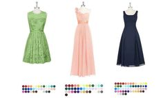 """Azazie Go for:A variety of bridesmaid dresses in tons of different colors, lengths, and fabrics, all for $159 or less. Bridesmaids can order up to threesample dressesto try on at home before deciding. They also carry bridal gowns for under $400, options for the mother of the bride, and a limited selection of accessories for men."""""""