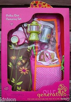 "Our generation 18"" doll #polka dot #camping tent #brown pink accessory set,  View more on the LINK: 	http://www.zeppy.io/product/gb/2/331744585531/"