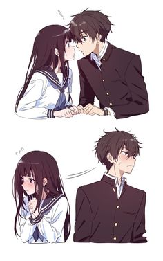Wenn ich dort wäre, schiebe ich ihre Köpfe zusammen (͡ ° ͜ʖ ͡ °) Anime /. If I were there, I would push their heads together (͡ ° ͜ʖ ͡ °) Anime / Manga = Hyouka - yy ooo - # animé Couple Amour Anime, Couple Anime Manga, Manga Anime, Anime Love Couple, Anime Couples Manga, Cute Anime Couples, Anime Naruto, Anime Couples Cuddling, Anime Couples Hugging