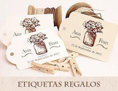Etiquetas personalizadas detalles boda: Guirnalda corazones