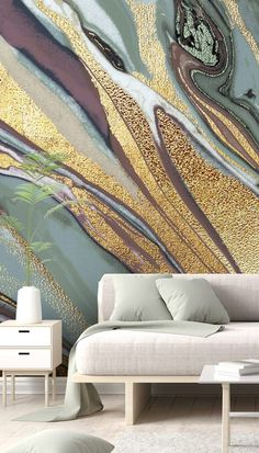 In Lara Skinner's artwork and this collection of wall murals, you'll find layers upon layers of mixed textures with a hint of florals to create beautiful, marble effect designs. Ideal for creating contemporary décor, these made-to-measure murals by Lara Skinner will look stunning in any neutral room. Create a stunning feature wall with this geode mural. Easy to order and install plus free EU delivery. Click to find out more! #wallpaper #featurewall #wallpaper #marble #geode Interior Trend Interior Stairs, Interior Trim, Living Room Interior, Interior And Exterior, Interior Design, Tranquil Bedroom, Tropical Wallpaper, Inspirational Wallpapers, Inspiration Wall