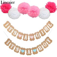 Lincaier Baby Shower Paper Its a Boy Girl Banner Party Baptism Decorations Bunting Favors Supplies Blue Pink Babyshower
