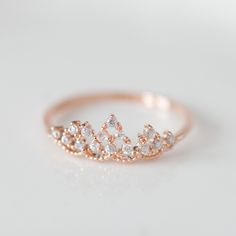 not for engagement - Delicate tiara ring in Pink gold! oh my gosh! so cute! Cute Rings, Pretty Rings, Beautiful Rings, Cute Promise Rings, Cute Jewelry, Jewelry Accessories, Jewlery, Gold Jewelry, Etsy Jewelry