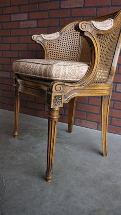 Cane Back Accent Chair / French Chair French Provincial Cane Chair /  Country French Arm Chair