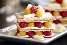 Driscoll's Red and Golden Raspberry White Chocolate Napoleon www.driscolls.com #DriscollsSweepstakes