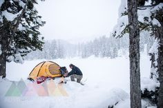 Senior man camping in snow-covered landscape Outdoor Gear, Tent, Camping, Snow, Explore, Landscape, Gallery, Facebook, Twitter
