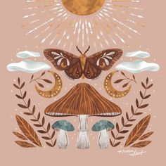 Art Inspo, Art Hippie, Bohemian Art, Moth Drawing, Art Du Collage, Arte Indie, Posca Art, Hippie Wallpaper, Mushroom Art