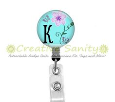 Retractable ID Badge Reel Personalized Initial by CreativeSanity, $7.50