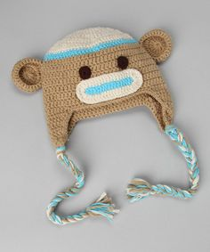 Tan & Blue Monkey Earflap Beanie -    2 Crystal Chicks on zulily today!
