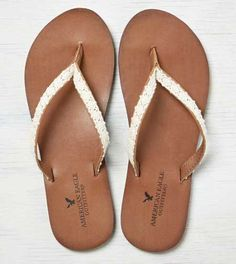 75a46a2565d3e9 AEO Crocheted  amp  Leather Flip Flop - Free Shipping American Eagle Shoes