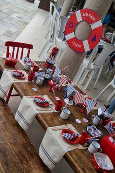 Projetos Inventivos - festa navy/marinheiro Boy Birthday Parties, Baby Birthday, Birthday Party Decorations, Baby Shower Parties, Party Themes, Sailor Party, Sailor Theme, Sailor Style, Festa Party