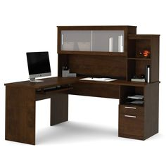 shaped wood oak cabot espresso hutch computer regard ideas corner desk bush with l to in