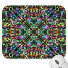 Green and Rainbow Mandala Pattern Mousepad $12.35