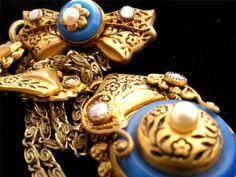 Antique Czech Glass Enamel SET Necklace Brooch Lavalier Taille DE Epargne Pearl   eBay