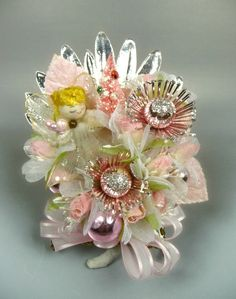 Christmas Corsage Pink Angel Vintage Spun Cotton Mercury by meaicp
