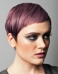 A short black straight coloured purple Shortfringe hairstyle by Pierre Alexandre