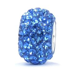 Sapphire Blue Crystal Pave Sparkle Bling - September Birthstone - Solid .925 Sterling Silver Core European Charm Bead Made with Authentic Swarovski Crystals - Compatible Brand Bracelets : Authentic Pandora, Chamilia, Moress, Troll, Ohm, Zable, Biagi, Kay's Charmed Memories, Kohl's, Persona & more!