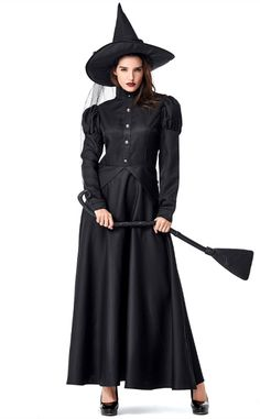 Halloween Wizard Of Oz Black Witch Costume Size: S Bust 88cm,Waist 72cm,Dress Length 140cm M Bust 92cm,Waist 76cm,Dress Length 144cm L Bust 96cm,Waist 80cm,Dress Length 145cm XL Bust 100cm,Waist 84cm,Dress Length 145cm Material: Polyester,Cotton Wash Gently On The Opposite Side, Do Not Wash With Hot Water, Hang To Dry Wash Clothes By Color Separation To Avoid Dyeing This Costume Includes :Dresses,Hat,Inner skirt