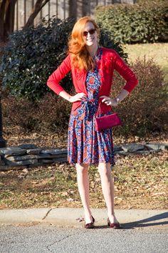 IMG_5654. #karina Ruby dress, #vintageinspired style, with a rose cardigan in red from #bananarepublic www.elegantlydressedandstylish.com