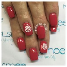 Red Nails with sugar roses