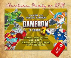 Rescue Bots invitations for Transfo rmers rescue bots birthday ...