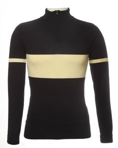 Navy blue and ecru stripe 100% merino wool retro cycling jersey from Jura Cycle Clothing