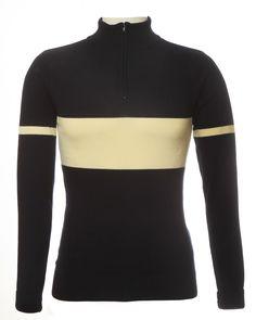 Navy blue and ecru stripe 100% merino wool retro cycling jersey from Jura Cycle Clothing