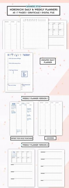 Hobonichi Planner Templates! Hobonichi Weekly and Hobonichi Daily. Vertical WO2P. Minimalist Japanese Style Planner Printables