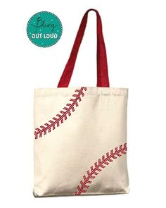 """Canvas Baseball Tote with BLING Rhinestone """"Threads"""" and Red handles on Etsy, $11.00"""