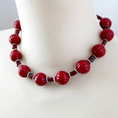 Handmade Necklace Cranberry Red Swirl Vintage Acrylic Beads - Rich Red!