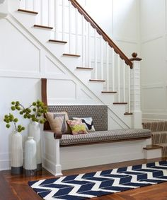Gorgeous board and batten staircase - like the built in bench. Would be good near an entry way Floor Vase Decor, Floor Vases, Vases Decor, Escalier Design, Farmhouse Side Table, Coastal Farmhouse, Stair Storage, Stair Shelves, Entryway Storage