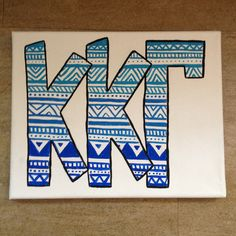 on small separate canvases maybe? Kappa Kappa Gamma, Alpha Sigma Alpha, Kappa Delta, Sorority Letters, Sorority Canvas, Sorority Paddles, Sorority Recruitment, Alpha Phi Crafts, Sorority Crafts