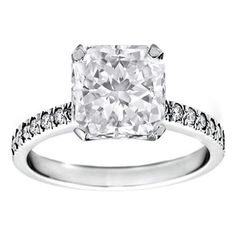 Preset Engagement Rings - Radiant Diamond Engagement Ring 1.42 Tcw. Very Good Cut, I SI1, GIA with A Diamond Band