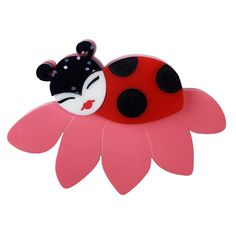 Peppy Chapette Luella Ladybird brooch in red. Made in Melbourne by Louisa Camille Brooches, Melbourne, Minnie Mouse, Disney Characters, Fictional Characters, Red, Life, Collection, Jewelry