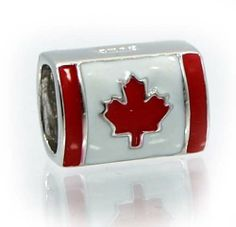 "Amazon.com: .925 Sterling Silver "" Canadian Flag w/Color Enamel "" Charm Bead Compatible with Pandora Chamilia Kay Troll Bracelet: Jewelry"