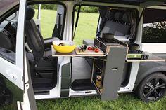 SpaceCamper T5 Van - interesting outside kitchen pod