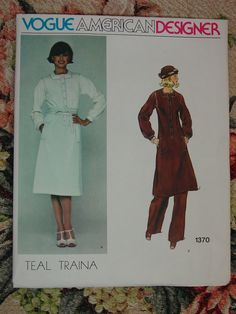 Vintage Pattern c.1970's Vogue American Designer Teal Traina Dress,Tunic No.1370 Sz.14 on Etsy, $12.63 AUD